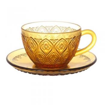 GLASS CUP & SAUCER ''FIORE'' AMBER ガラス カップ 直径16