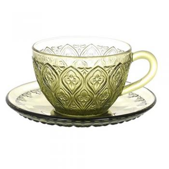 GLASS CUP & SAUCER ''FIORE'' GREEN ガラス カップ 直径16