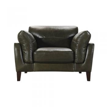 LEATHER SOFA 1 SEATER MOSS GREEN ソファ 1人掛け 幅117