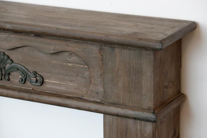 雑誌掲載!アンティーク調木製マントルピース(白・茶) クラシックヨーロピアン暖炉