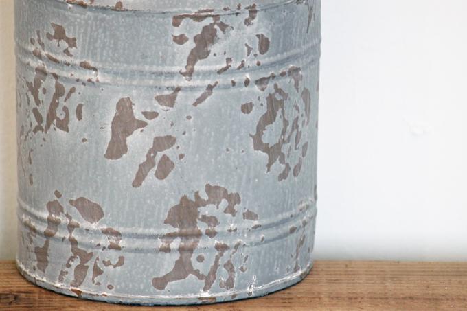 ブリキ ミルク缶 グレー グリーンポット ガーデニング ベランダ ディスプレイ ヴィンテージ