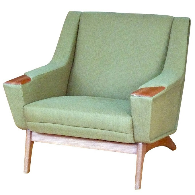 green teak arm accent chair